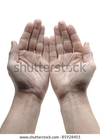 Two open hand isolated on white - stock photo