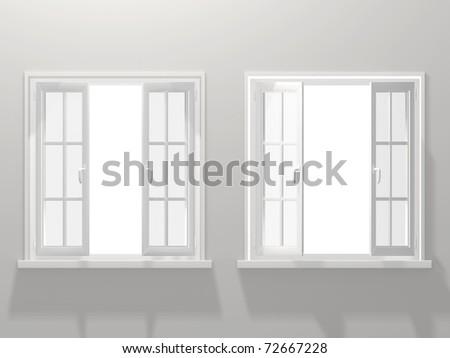 Two opened windows - stock photo