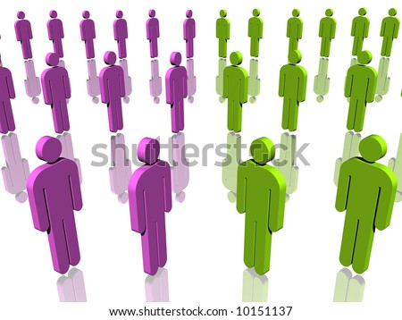 Two Opposite Groups Of People In Different Colors Green And Purple