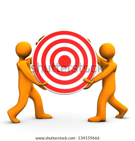 Two orange cartoon characters with red target. - stock photo