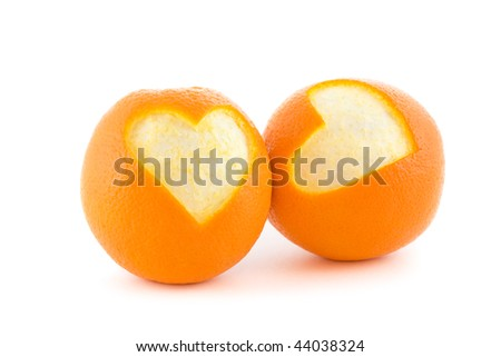 Two orange heart isolated on white - stock photo