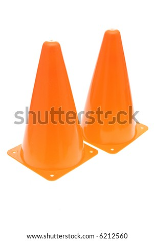 Two orange safety cones isolated on white background - stock photo
