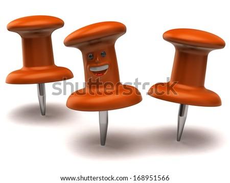 Two orange thumbtacks one fun thumbtack on white background - stock photo