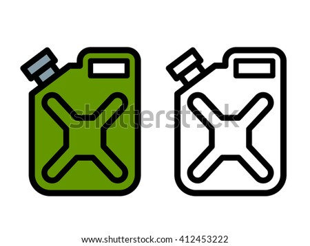Two outline drawings of cartoon fuel canisters or jerrycans for carrying and storing fossil fuel, one green and one black and white in side view, illustration - stock photo