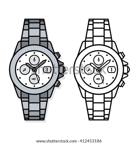 Two outline drawings of wristwatches, one black and white, one grey, with four dials , knobs and minute and hour hands, illustration - stock photo