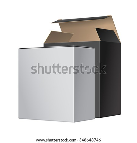Two Package Box Opened with DVD Or CD Disk. For Software, electronic device and other products. - stock photo