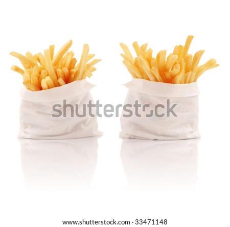 Two packs of french fries - stock photo