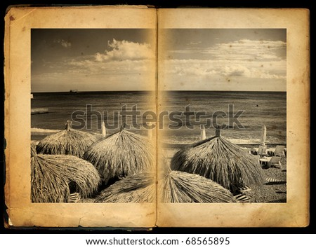 Two Pages in ancient Book with print - stock photo