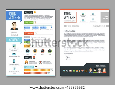 two pages job candidate cv template with work experience resume illustration
