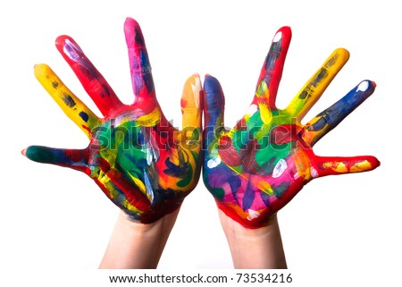 two painted colorful hands against white background - stock photo