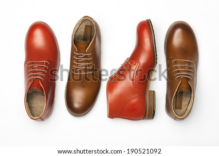 Two Pair of Men's Shoes isolated on white background - stock photo