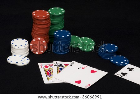 Two pairs hand in playing game of poker with chips