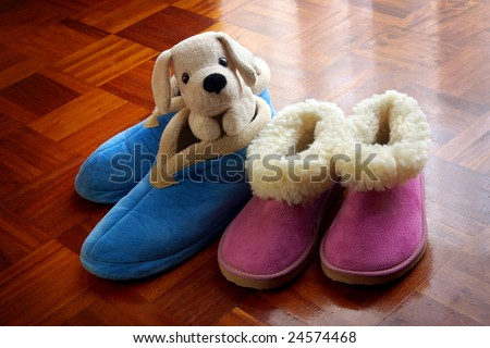 Two pairs of children warm bedroom slippers and teddy dog - stock photo
