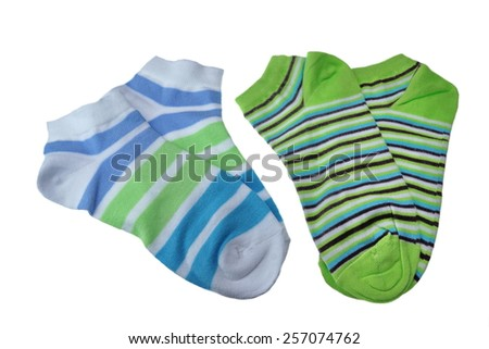 Two Pairs of Different Sport Striped Ladies or Girlish Socks Isolated On White Background