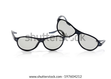 Two pairs of polarized 3D glasses for TV. Izolcht on white. - stock photo