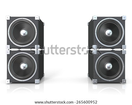 Two pairs of sound speakers. 3D render illustration isolated on white background. - stock photo
