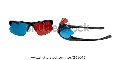 Two Pairs Of Stylish Plastic 3D Glasses red and cyan isolated on white - stock photo