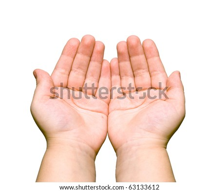 two palms of the hand on white background - stock photo