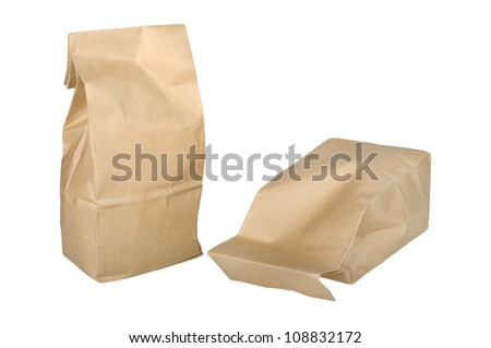 two paper bag isolated on white background - stock photo