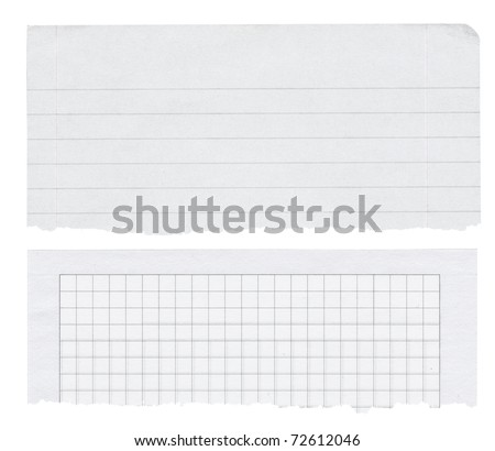two paper banners isolated on white, bottom edges are torn out and frayed - stock photo
