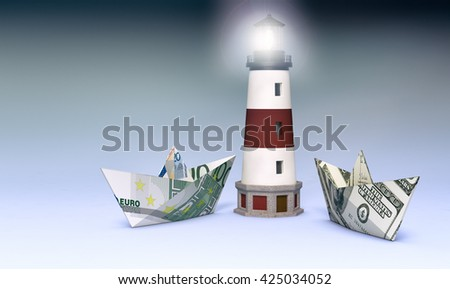 two paper boats made with dollar and euro banknotes, and a lighthouse, concept of business and finance (3d render) - stock photo