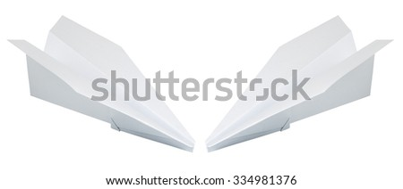 two paper plane isolated on a white background - stock photo