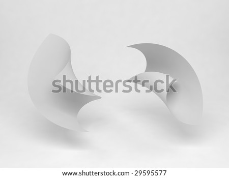 Two paper sheets blowing around in the air