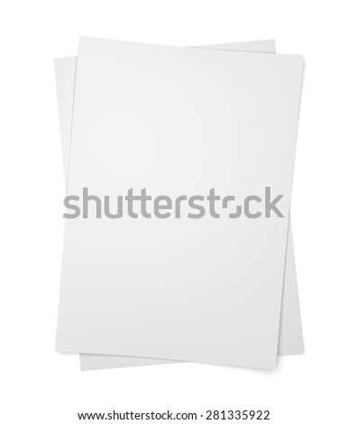 Two paper sheets on isolated on white background