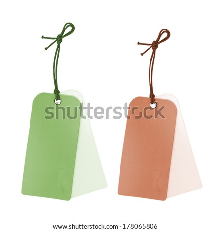 two paper tags  - stock photo