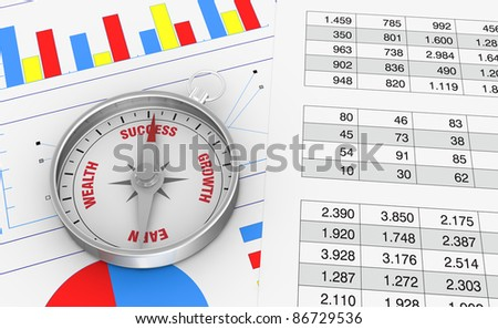 two papers with spreadsheet and charts and a compass over it (3d render) - stock photo