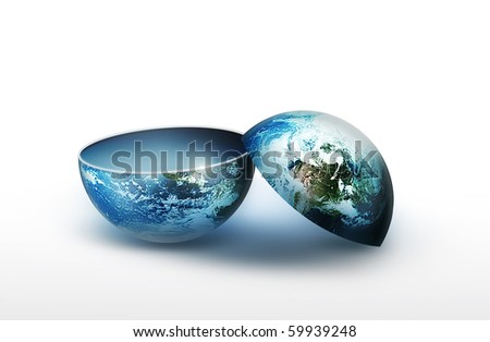 two part blank planet - stock photo