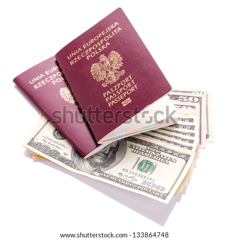 Two passports with American dollars money