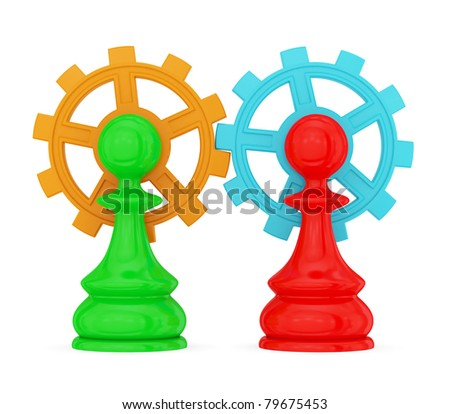 Two pawns merged with  gears. Teamwork concept. Isolated on white. - stock photo