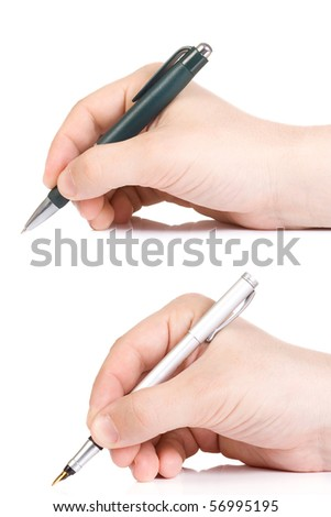 two pens and male hands