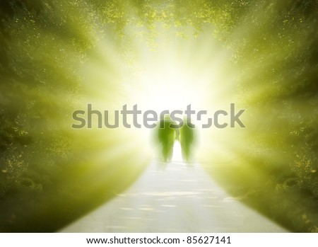 Two people are walking into the light of the paradise - stock photo