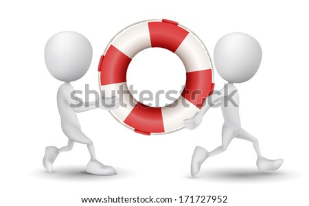 two people carried a buoy - stock photo