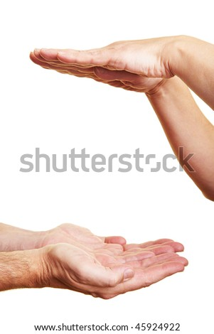 Two people holding their hands flat