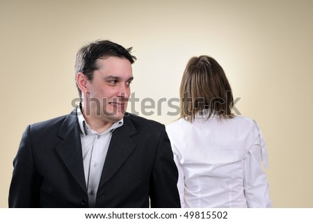 two people in conflict - stock photo