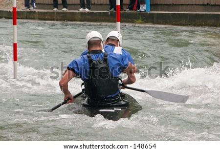 Two people kayaking - stock photo