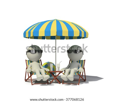 Two people relaxing in a deckchair on the beach. 3d image. White background.