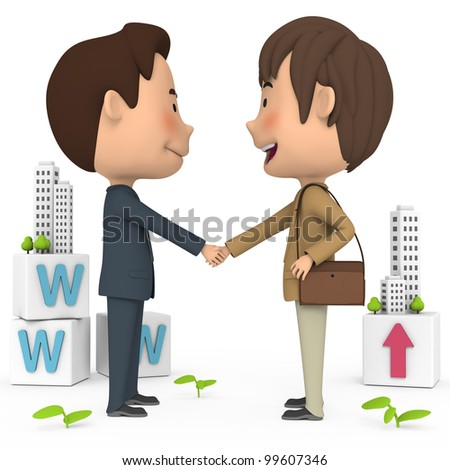 Two people shaking hands - stock photo