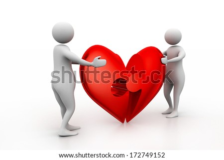 Two people with broken heart - stock photo