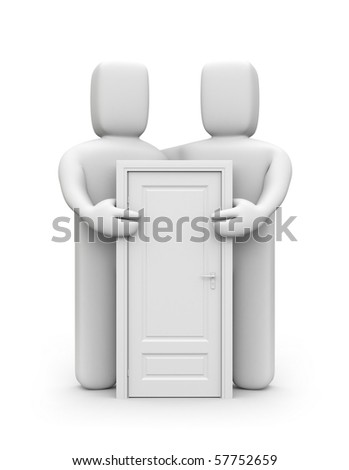 Two people with door - stock photo