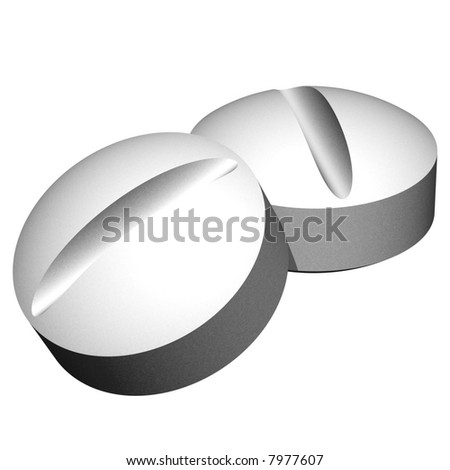 Two perfect 3d pills isolated on white