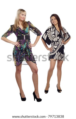 two perfect young woman in dress posing isolated on white background - stock photo