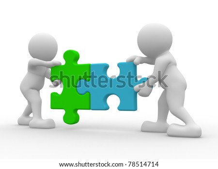 Two person matching puzzle pieces -This is a 3d render illustration - stock photo