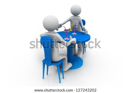 Two persons sit on  chairs