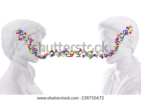 Two persons talking.  Language concept - stock photo