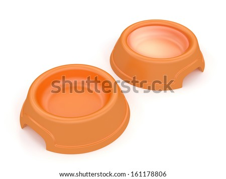 Two pet's bowls (one is empty and the other is filled with fresh water) isolated on white background with clipping path. - stock photo
