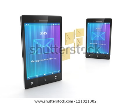 Two phone sending SMS. Connection of two mobile phone